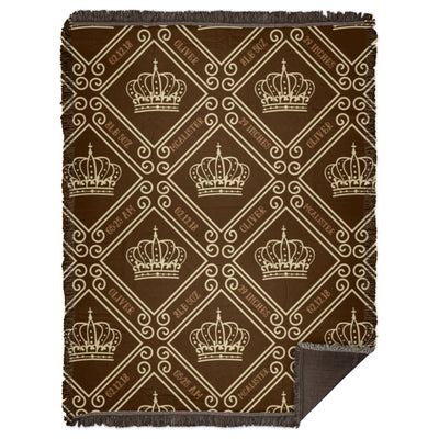 Blankets Royal Brown Woven Blanket - Personalize and Customize - ZERO TO THREE CLUB Blankets
