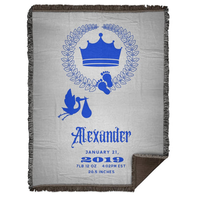 Blankets Royal Crown Blue Personalized Woven Blanket - ZERO TO THREE CLUB Blankets