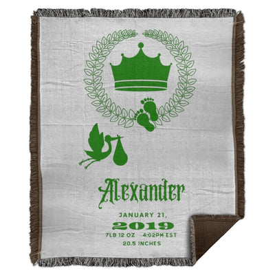 Blankets Royal Crown Green Personalized  Woven Throw Blanket - ZERO TO THREE CLUB Blankets