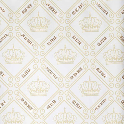 crib Royal Crown Ivory - Birth Stats and Name - Personalized Fitted Crib Sheet - ZERO TO THREE CLUB crib
