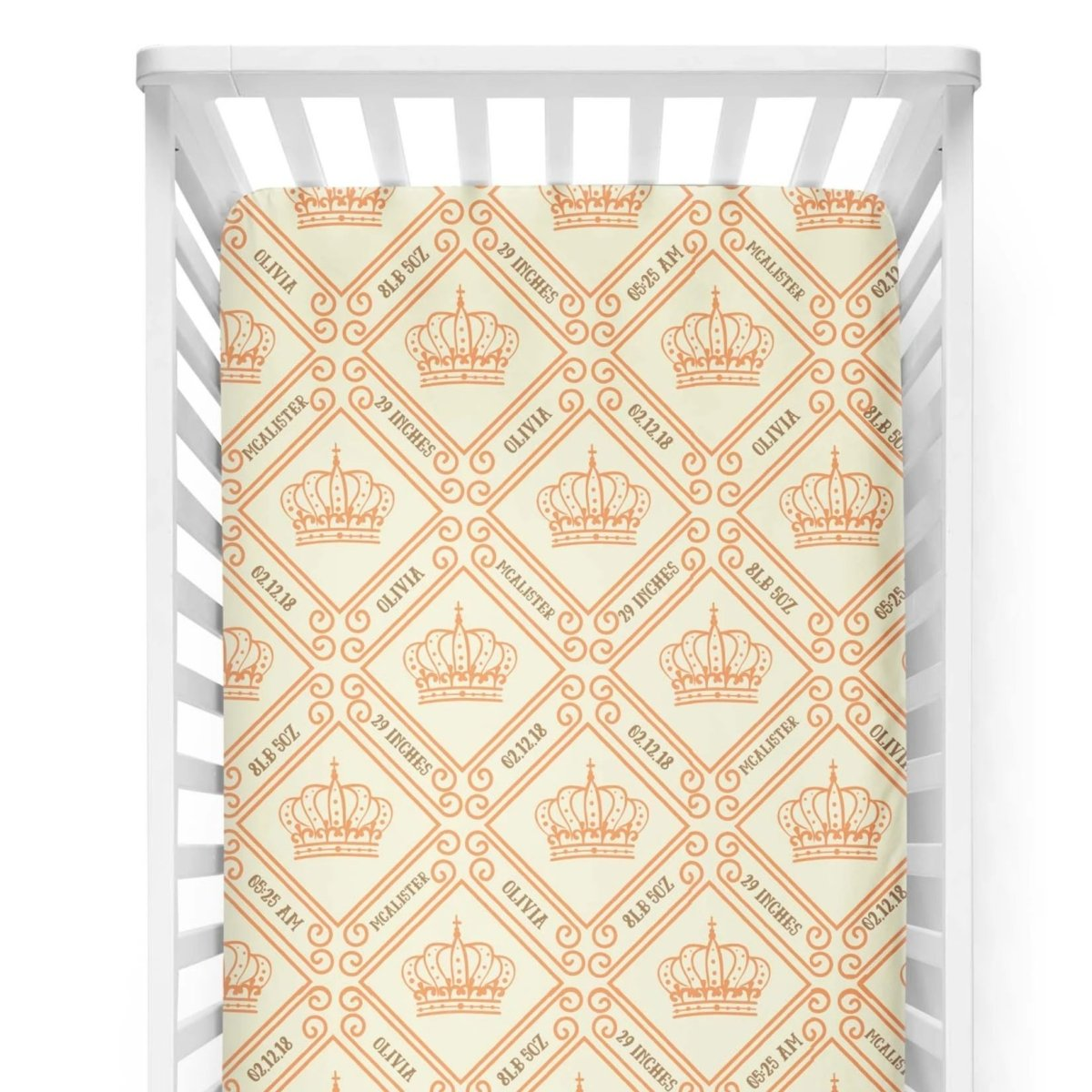 crib Royal Crown Mandarin - Birth Stats and Name - Personalized Fitted Crib Sheet - ZERO TO THREE CLUB crib