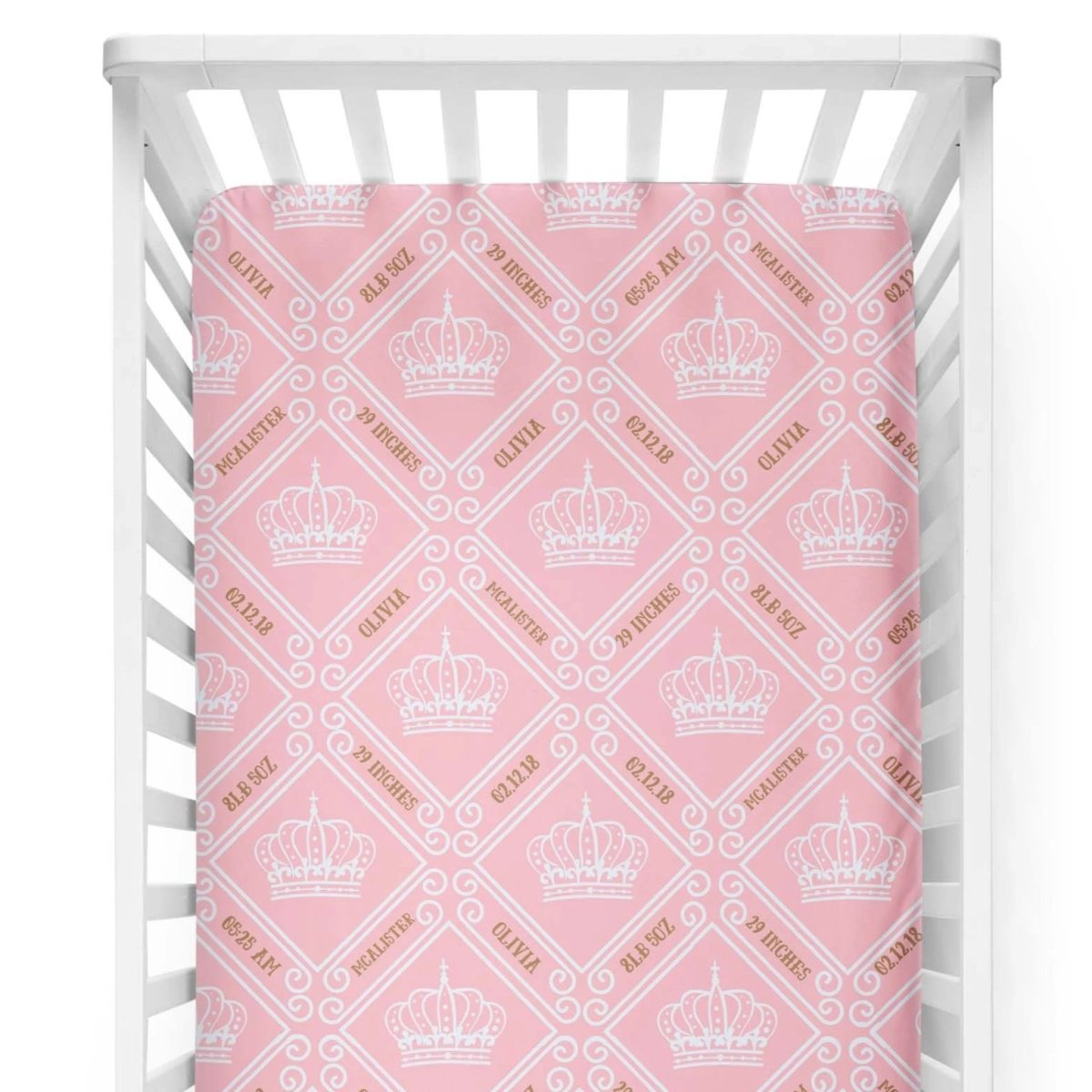 crib Royal Crown Pink - Birth Stats and Name - Personalized Fitted Crib Sheet - ZERO TO THREE CLUB crib