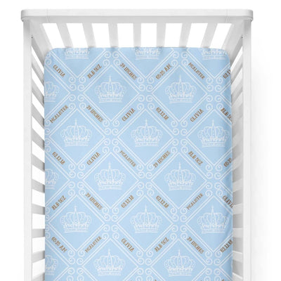 crib Royal Crown Sky Blue - Birth Stats and Name - Personalized Fitted Crib Sheet - ZERO TO THREE CLUB crib