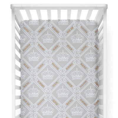 crib Royal Crown Smoke - Birth Stats and Name - Personalized Fitted Crib Sheet - ZERO TO THREE CLUB crib