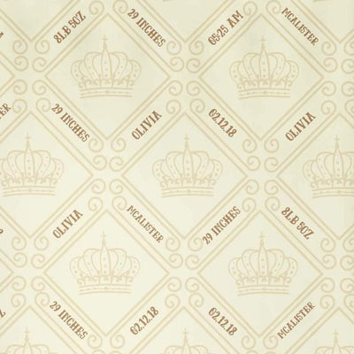 crib Royal Crown Tan - Birth Stats and Name - Personalized Fitted Crib Sheet - ZERO TO THREE CLUB crib