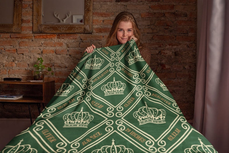 Blankets Royal Green Personalized Birth Stats Premium Mink Sherpa Blanket - ZERO TO THREE CLUB Blankets