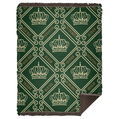 Blankets Royal Green Woven Blanket - Personalize and Customize - ZERO TO THREE CLUB Blankets
