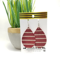 GENUINE Burgundy and Gold Stripes Embossed