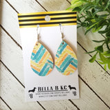 GENUINE Cork Teal and Yellow Chevron