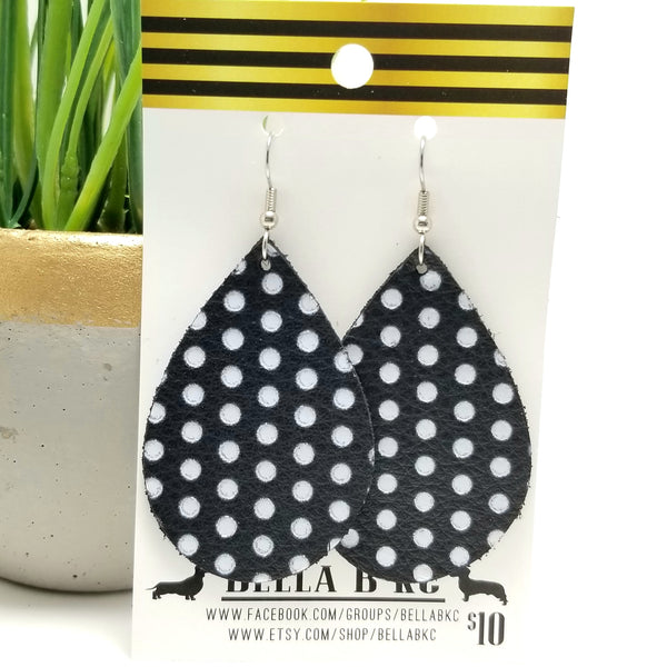 GENUINE Black with White Polka Dots