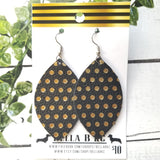 GENUINE Black with Gold Polka Dots