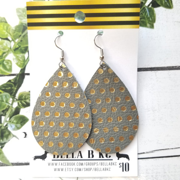 GENUINE Gray with Gold Polka Dots