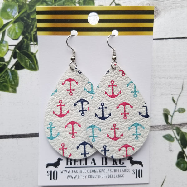 GENUINE Nautical Anchors Teal Red Navy