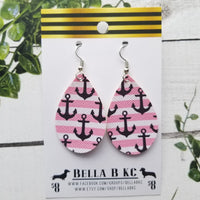 FAUX Nautical Anchors Black with Pink Stripes