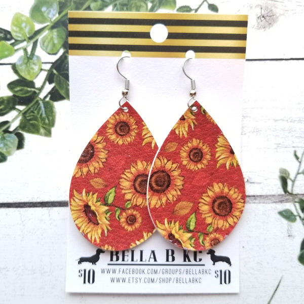 FAUX Floral Sunflowers on Red Rust