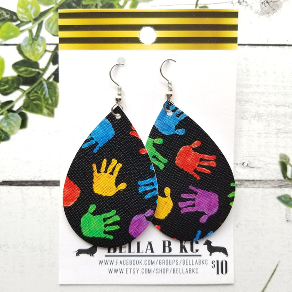 FAUX Awareness Autism Rainbow Hands