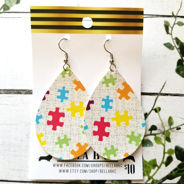 FAUX Awareness Autism Puzzle Small Print