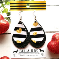 FAUX Valentine Black Striped Gold Hearts Double