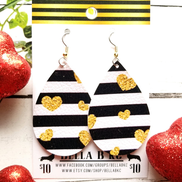 FAUX Valentine Black Striped Gold Hearts