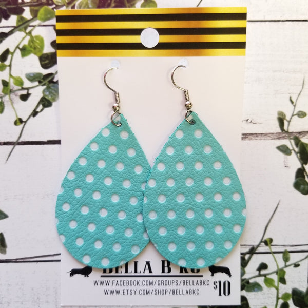 GENUINE Teal with White Polka Dots