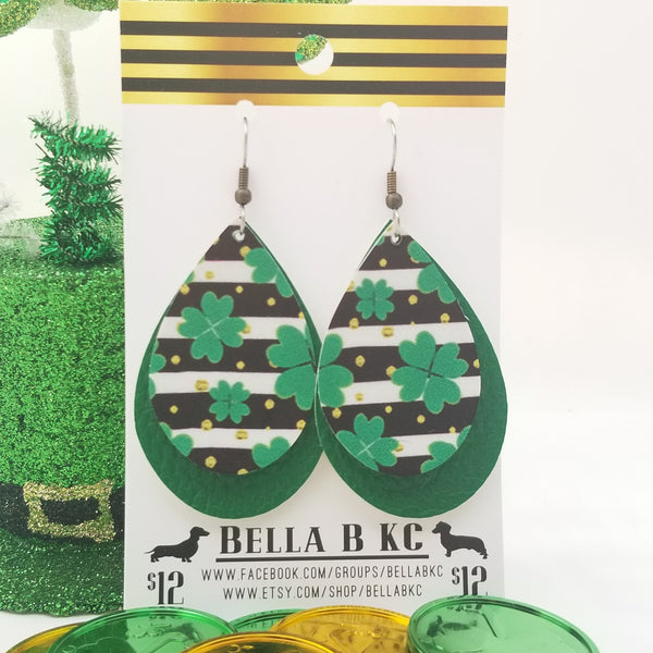 FAUX St. Patrick's Day Shamrocks and Black Stripes Double