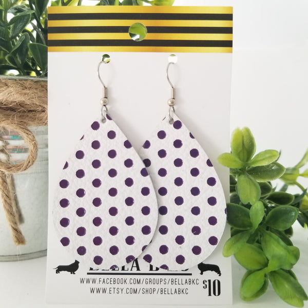GENUINE White with Purple Polka Dots
