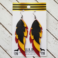 GENUINE Triple Feather Black, Yellow & Red