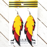 GENUINE Triple Feather Yellow, Red & Black