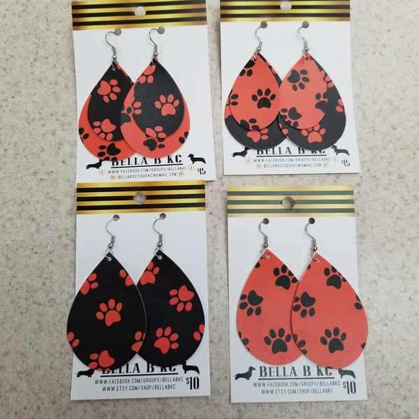FAUX Animal Paws Prints Orange and Black