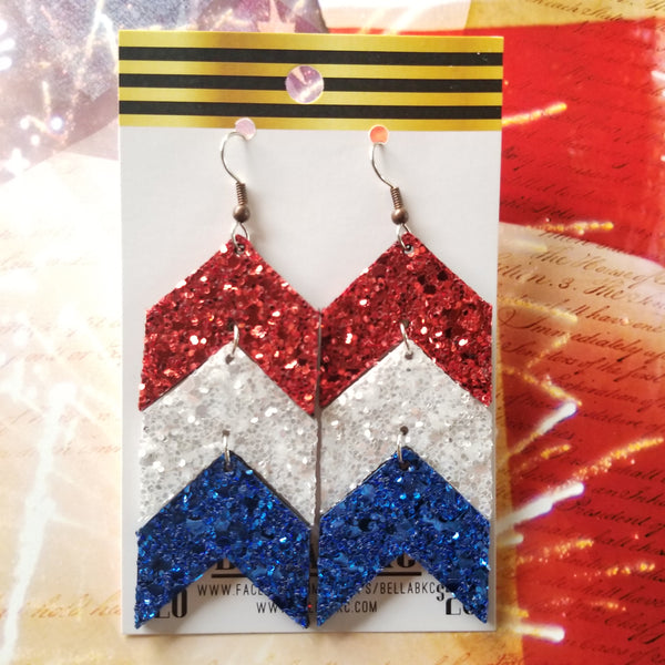 GENUINE Glitter Chevron Patriotic Red White and Blue