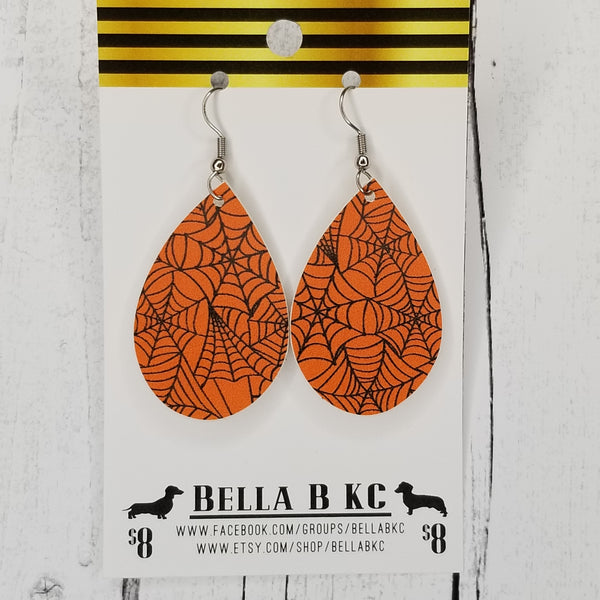 FAUX Halloween Spider Webs on Orange