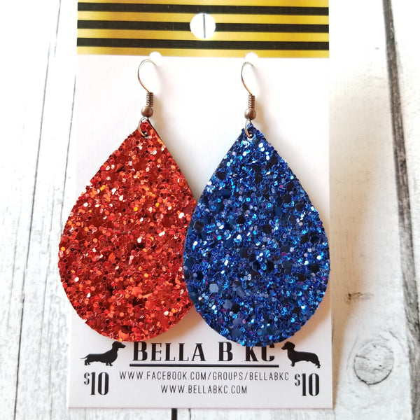 GENUINE Glitter Red & Blue 4th of July