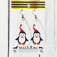 GENUINE Christmas Penguins on White Leather