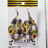 FAUX Floral Sunflowers on Plaid