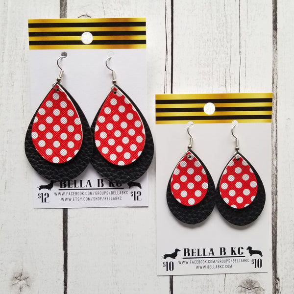 FAUX Black with Red Polka Dots Double