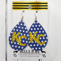 GENUINE Sports Kansas City Gold Glitter KC on Blue Polka Dots