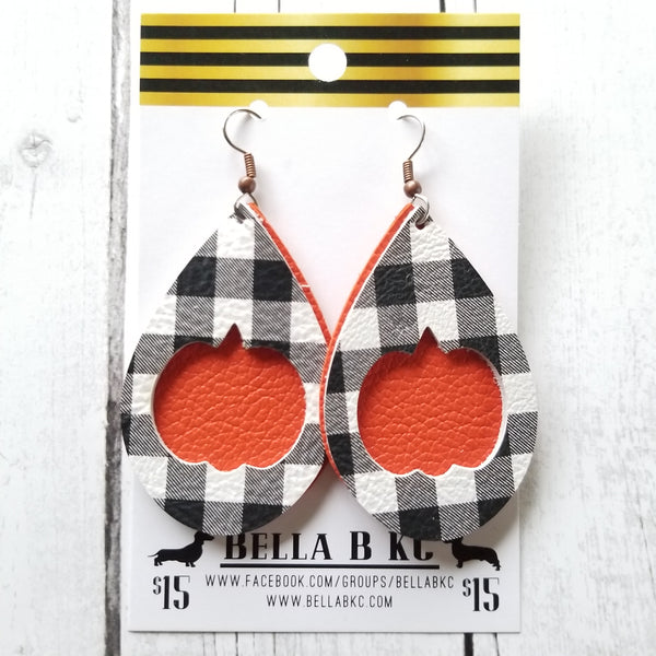 GENUINE Pumpkin Cut Out Black and White Plaid over Orange