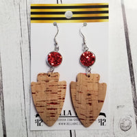 GENUINE Sports KC Natural Cork with Red Metallic Flakes Arrowhead