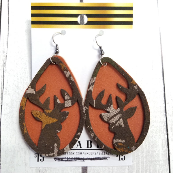 GENUINE Buck Cutout Burnt Orange with Camo Deer