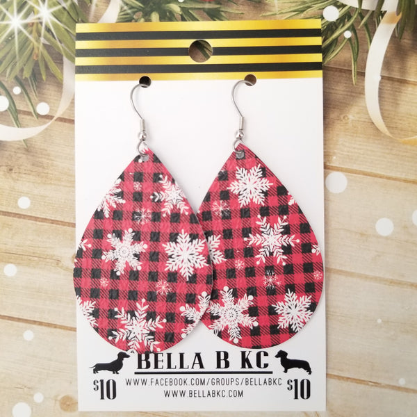 GENUINE Christmas Snowflakes on Red Buffalo Plaid