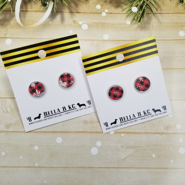 Studs - Christmas Red Buffalo Plaid with Snowflakes