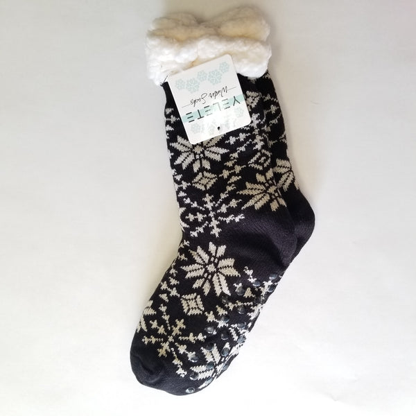 Sherpa Socks - Black with White Snowflakes