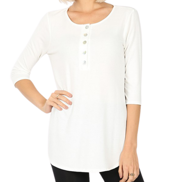 3/4 Sleeve Button Top Cream