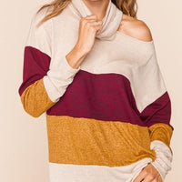 Long Sleeve Turtle Neck Shoulder Cut Out Top Mustard Wine