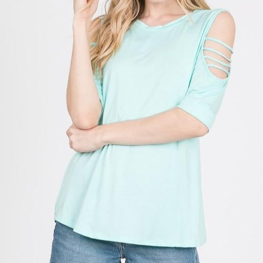 Mint Cold Shoulder Rayon Top