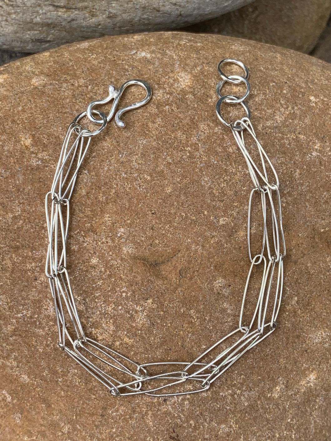 Sterling Silver Triple Oval Bracelet