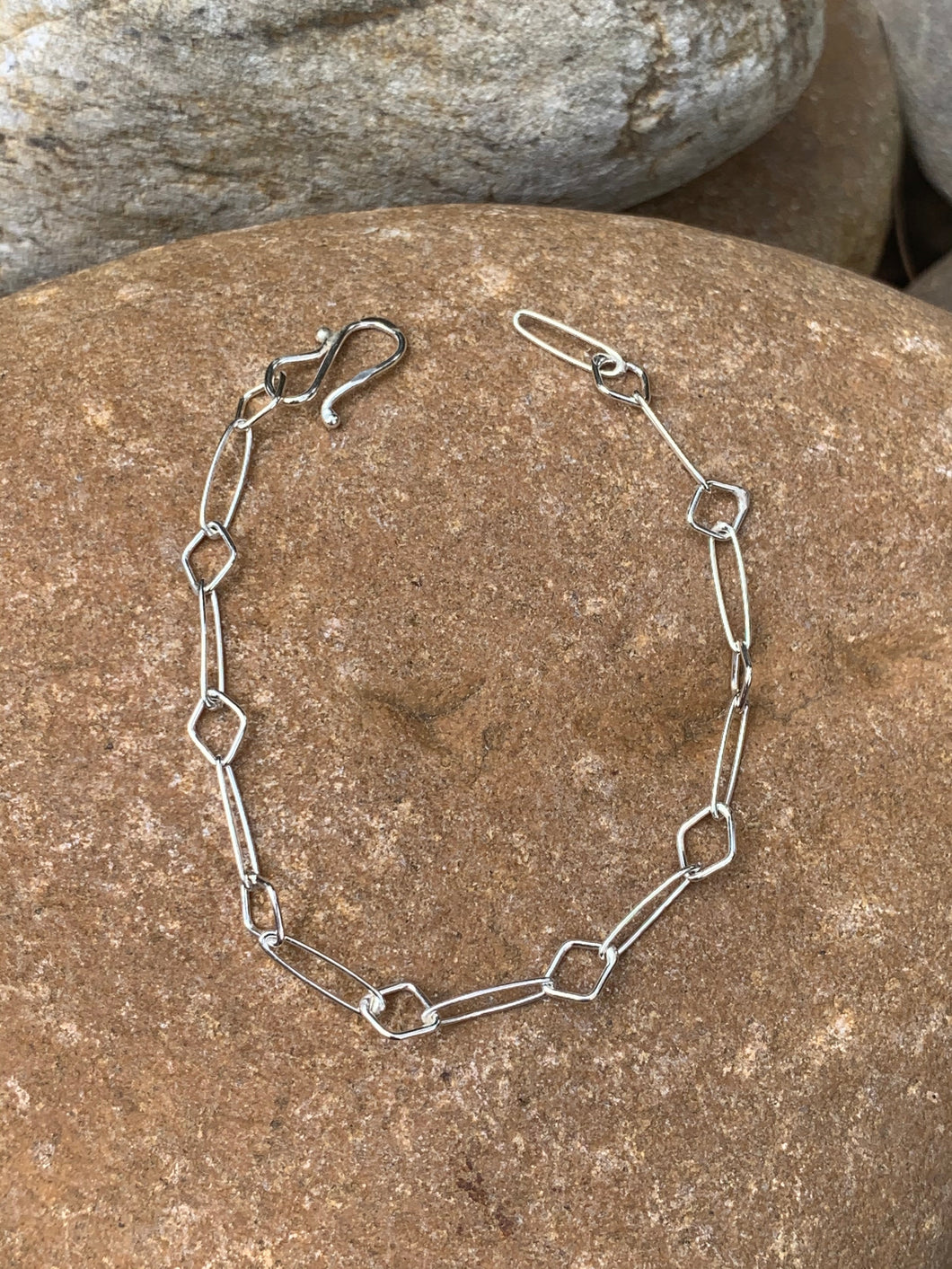Sterling Silver Oval & Diamond bracelet