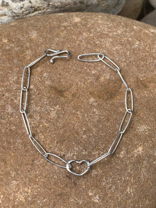 Sterling Silver Ovals with Heart Bracelet