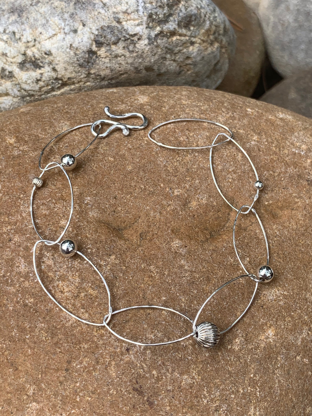 Sterling Silver Oval Bracelet with Silver beads
