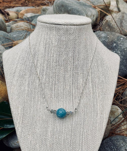 Sterling Silver Amazonite bead with Labradorite beads as bookends